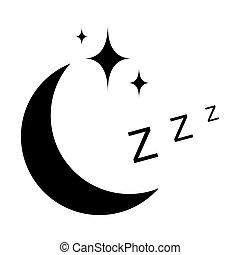 noche, zzz, icono, estrellas, sueño, símbolo, señal, luna, ...