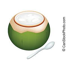 noci cocco, gelatina, in, conchiglia noce cocco, bianco,...