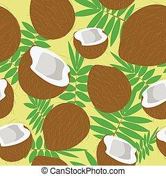 noci, foglie, palma, noce di cocco, illustrazione, marrone, frutte tropicali, seamless, pattern., cibo., unpeeled