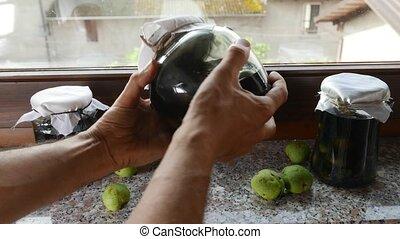 Nocino Jars Italian liquor made with unripe walnuts