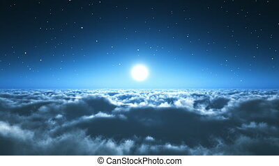 nocny lot, ponad chmurami
