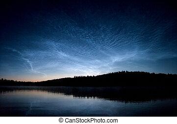 noctilucent, nuages, nuit