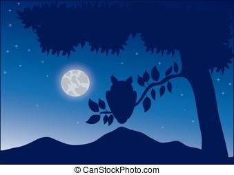 nocturnal landscape - vector, nocturnal landscape with the...