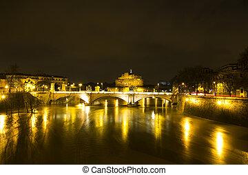 Nocturnal urban landscape of the river Tiber