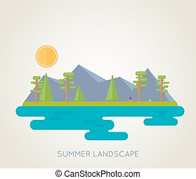 Simple, flat illustration of summer landscape. Mountains, lake, fir-trees, flowers and bright sun.