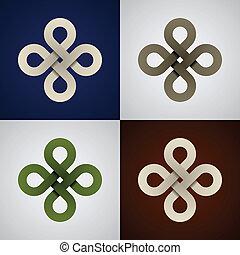 nodi, celtico, carta, vettore, infinito