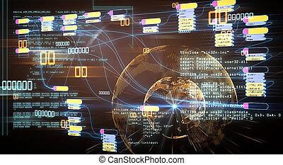 nodo, binario, concepto, programación, blockchain, base, code.