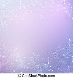 nodo, structure., scienza, astratto, molecola, poly, polygonal, fondo., collegamento, vettore, basso, fondo, tecnologia, chimica, dati
