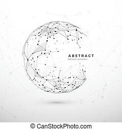 nodo, web, struttura, fondo., rete, net., concept., globale, illustrazione, punti, sfera, collegamento, ciberspazio, vettore, mesh., fondo, bianco, tecnologia, astratto