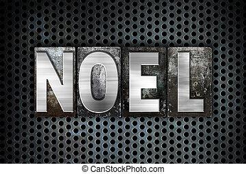noel, conceito, metal, letterpress, tipo