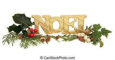Noel Glitter Decoration - Christmas noel golden glitter...