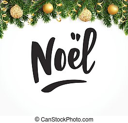 Joyeux noel text holiday greetings french quote fir tree eps holiday greetings quote fir tree branches with baubles great m4hsunfo