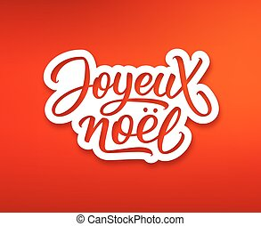 noel, texto, saludo, joyeux, label., tarjeta de navidad