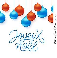 noel, tipografía, francés, joyeux, feliz navidad