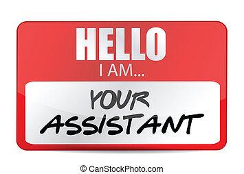 noem etiket, jouw, assistent, illustratie