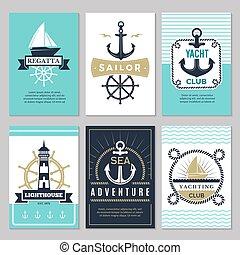 noeud, corde, logotypes, cartes., décoratif, fond, mer, nautique, vendange, ancre, étiquettes, symboles, océan, marin, bateau