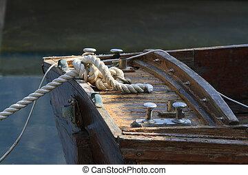 noeud, gros plan, amarré, bateau bois