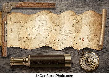 nog, gescheurd, kompas, kaart, oud, media., bovenzijde, reizen, schat, verrekijker, concept., gemengd, avontuur, aanzicht, life.