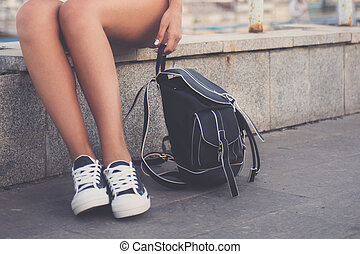 nogi, biały, kobieta, closeup, gumshoes