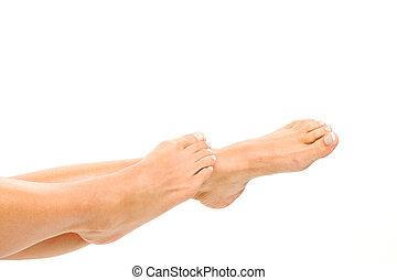 nogi, biały, kobieta, odizolowany
