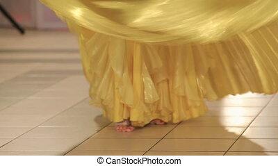 nogi, biały, kobieta, strój, taniec