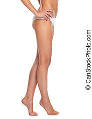 nogi, kobieta, closeup, młody, bielizna