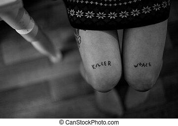 nogi, kobieta, młody