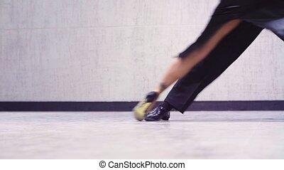 nogi, od, profesjonalny, tancerze, taniec, tango