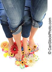 nogi, paznokcie, womens, (pedicure), ładny