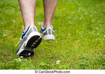 nogi, pieszy, trawa, człowiek