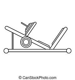 nogi, szkic, sala gimnastyczna, maszyna, projektować, tłoczyć, sport