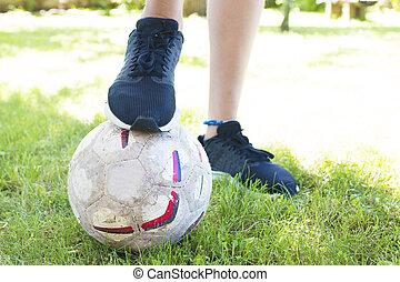 noha, a, focilabda, gyermek, cipő, futbol