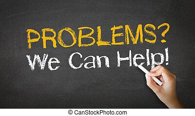 noi, aiuto, problemi, illustrazione, gesso, lattina