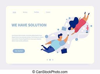 noi, concetto, soluzione, atterraggio, possedere, pagina