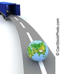 noi, contenitore, globe., offerta, porte, internazionale, aperto, transportation.