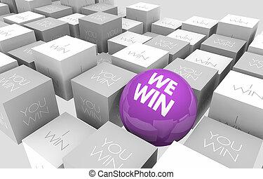 noi, cubi, lavorativo, vincere, insieme, sfera, lavoro squadra, illustrazione, lei, 3d