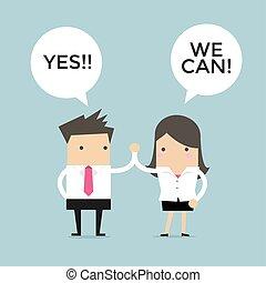 noi, dare, donna d'affari, uomo affari, alto, can., altro, ciascuno, cinque, sì