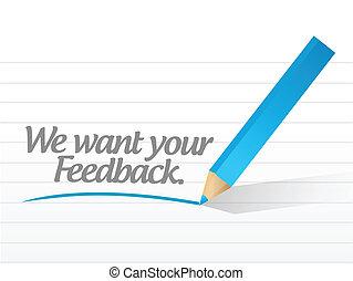 noi, feedback, illustrazione, volere, messaggio, tuo