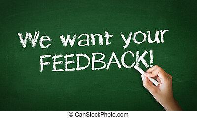 noi, volere, tuo, feedback, gesso, illustrazione