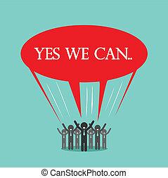 noi, .yes, concetto affari, idea., discorso, cartoni animati, uomo affari, bolla, lattina