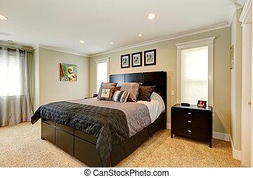 noir, élégant, ensemble, meubles, chambre à coucher