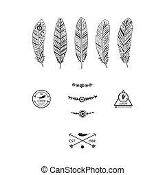 noir, éléments, plumes, ethnique
