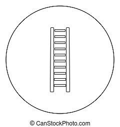 noir, étape, icône, rond, bois, couleur, ou, échelle, cercle