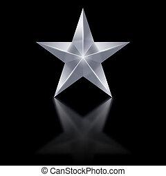 noir, étoile, argent, fond