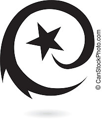 noir, étoile filante, rond
