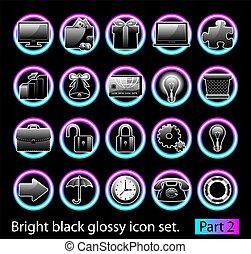 noir, 2, ensemble, lustré, icône