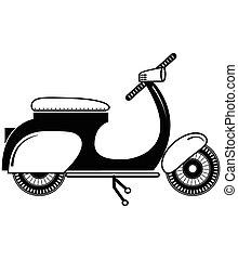 noir, 2, vendange, type, scooter