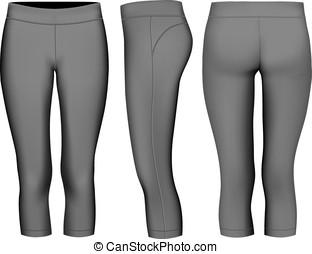 noir, 3-4, tights., long, femmes