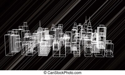 noir, 3d, tourner, animation, modèle, fond, ville