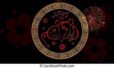 noir, 4k, lunaire, événement, festival, sakura, année, fireworks., chinois, simbol, toile de fond, vidéo, nouveau, magique, rat, 3d, vacances, fond, nuit, animation., boucle, printemps, rendre, année, seamless, scintillement